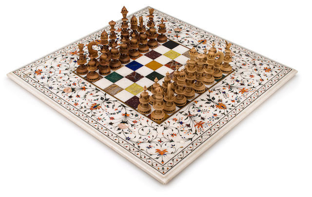 A Selenus chess set and an Indian inlaid marble chess board