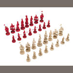 A Chinese Export ivory chess set