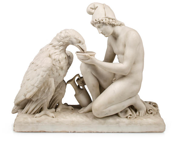 A Carrara marble sculpture of Ganymede with Jupiter's Eagle<BR />after a model by Bertel Thorvaldsen (Danish, 1770-1844)<BR />second half 19th century