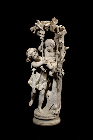 An Italian Carrara marble group of children on a swing<BR />fourth quarter 19th century