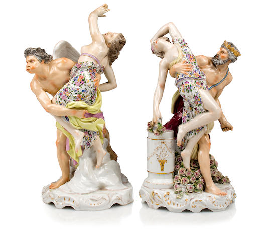 A pair of German porcelain figures: Rape of Persephone and Rape of Venus