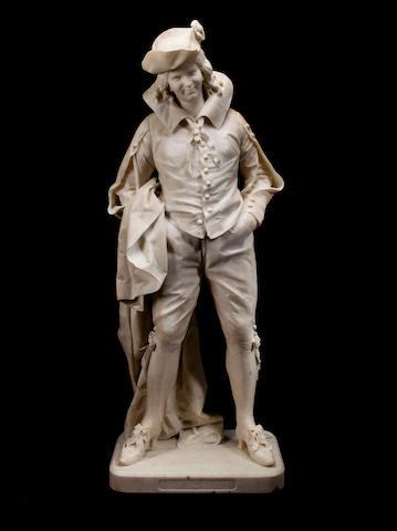 A Carrara marble figure of a young man: Sans Souci<BR />Gerolamo Oldofredi Tadini