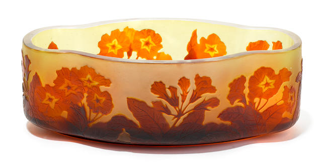 A Gallé cameo glass Primrose bowl circa 1900