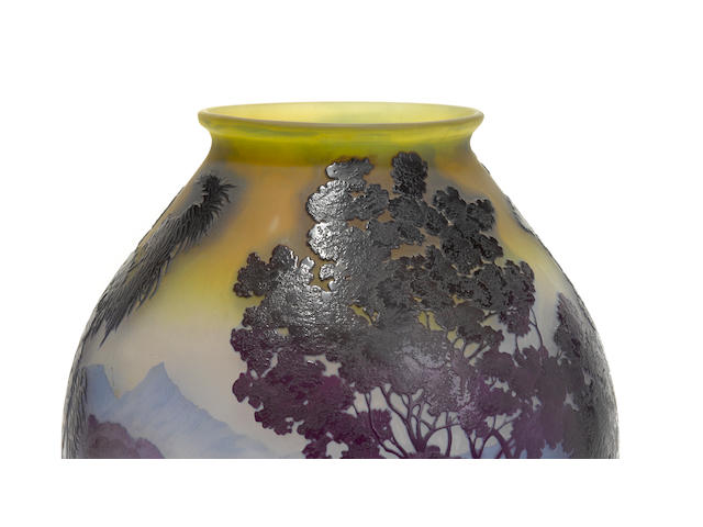 A Galle cameo glass 'Lake Como' vase