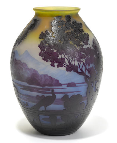 A Gallé cameo glass Lake Como vase circa 1900