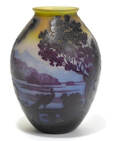 A Gallé cameo glass Lake Como vase circa 1900
