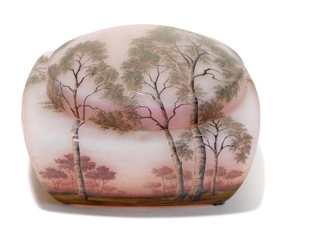 A Daum Nancy enameled glass powder box
