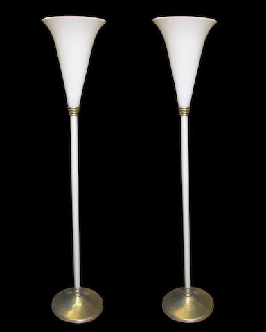 A pair of Italian glass and brass torchères probably Venini circa 1965