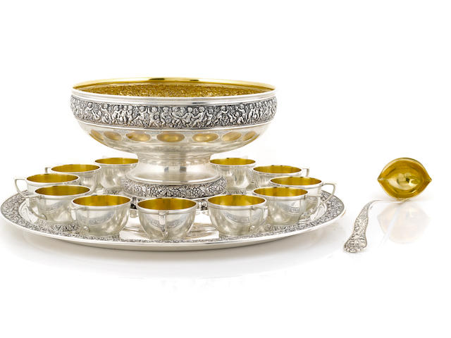 An American  sterling silver assembled punch service for twelve by Tiffany & Co., New York, NY,  1891 - 1902 and 1947 - 1956