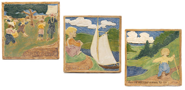 A Group of three Arts & Crafts pottery tiles