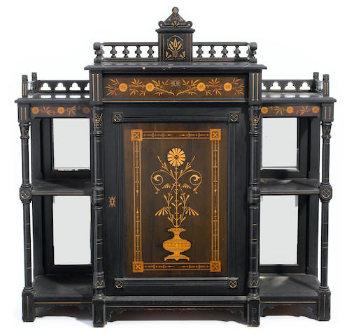 An American Aesthetic ebonized and marquetry music cabinet<BR />New York<BR />third quarter 19th century