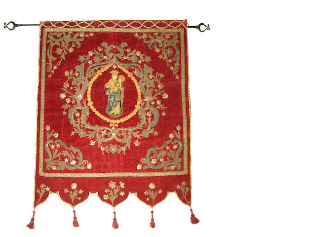 A Baroque style velvet, metallic thread embroidered, appliqué and foil decorated hanging late 19th/early 20th century