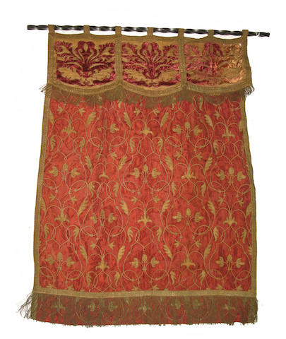 A Baroque style silk and velvet metallic thread embroidered and foil decorated hanging late 19th/early 20th century