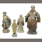 Four Baroque polychrome and gilt decorated carved wood religious figures 18th century
