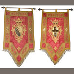 A pair of Italian brocade and appliqué armorial panels late 19th century