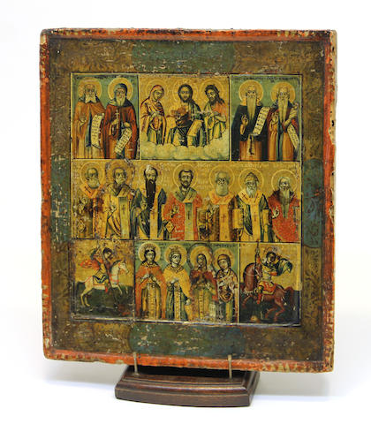A Greek polychrome and gilt decorated icon