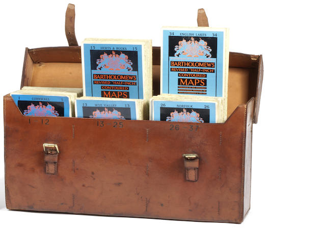 A leather-cased set of Bartholomew's road maps for Great Britain,