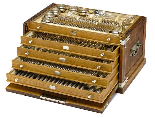 An Austrian 800 standard silver extensive part flatware service for twelve by Joseph Carl Klinkosch, Vienna, second quarter 20th century