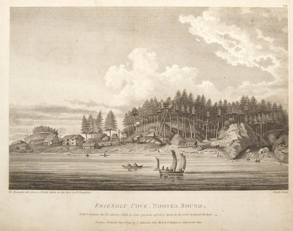 VANCOUVER, GEORGE. 1757-1798. A Voyage of Discovery to the North Pacific Ocean, and Round the World; in which the Coast of North-West America has been Carefully Examined and Accurately Surveyed. London: G.G. and J. Robinson, and J. Edwards, 1798.