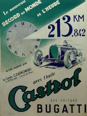 A Castrol Bugatti World Record 1933 poster,