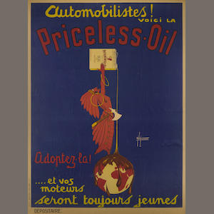 A Priceless Oil advertising poster, c. 1920s,