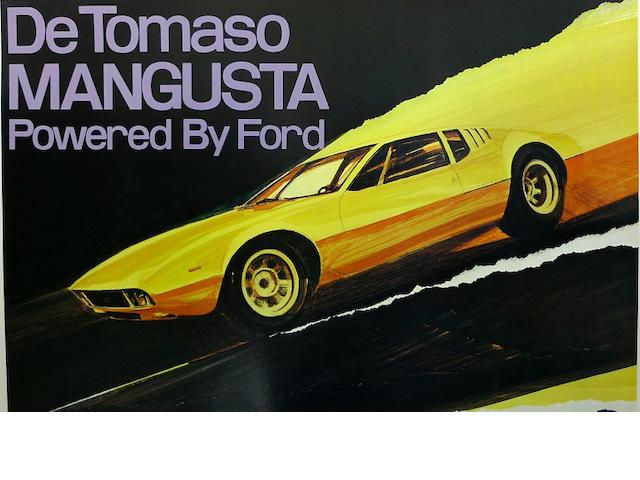 A De Tomaso Mangusta by Ford dealership poster,
