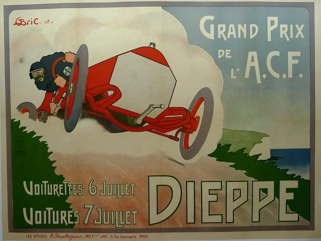 A Grand Prix de l'ACF at Dieppe advertising poster, France 1908,