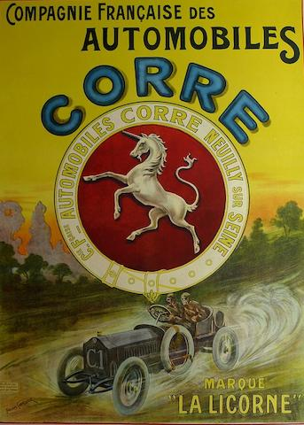 An Automobiles Corre advertising poster, c. 1910,