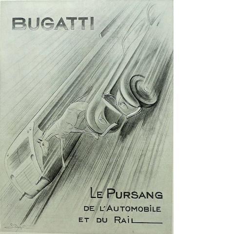 A Bugatti advertising poster, c. 1937,