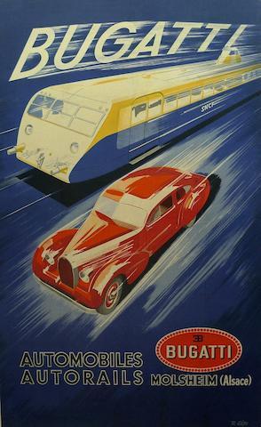 A Bugatti Automobiles/Autorails factory poster, c. 1920s,