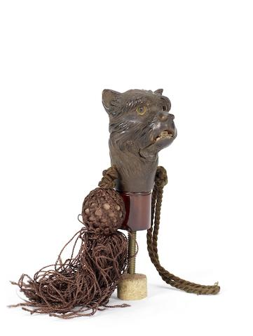 English, 20th century A novelty Terrier ladies parasol handle with tassle and moving eyes mechanism