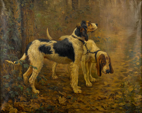 Matilda Lotz (American, 1858-1923) Russian Bloodhounds 32 x 40 in. (81 x 102 cm.)