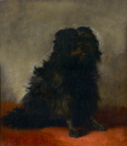 Joseph Urbain Melin (French, 1814-1886) A black Spaniel 20 x 17 1/2 in. (51 x 44 cm.)