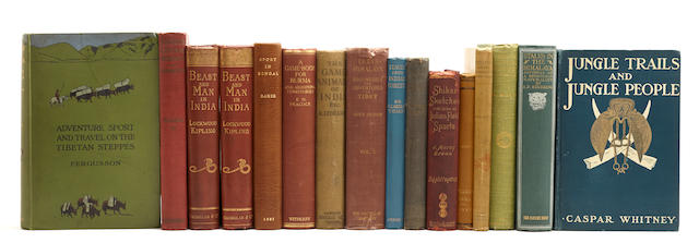 INDIA AND BEYOND.  34 volumes on hunting and exploration in India and the surrounding regions, various places and publishers, 1880s-1920s,