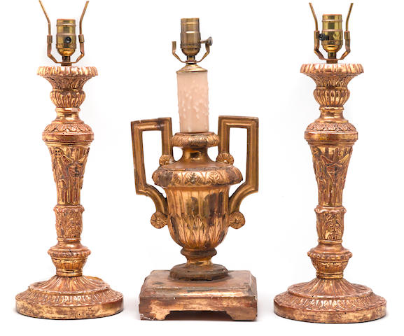 A pair of Louis XVI style giltwood table lamps