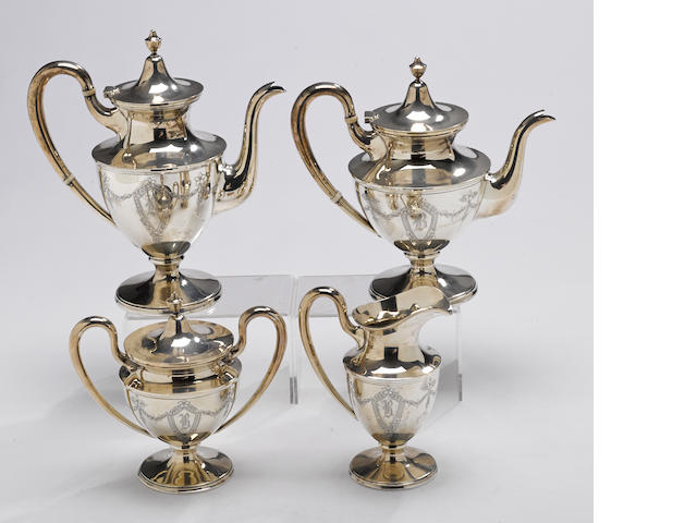 A sterling four piece tea and coffee set by The Stieff Co., Baltimore, MD, dated 1948/9 <BR />Colonial, engraved, # 051, monogrammed: B  (4)