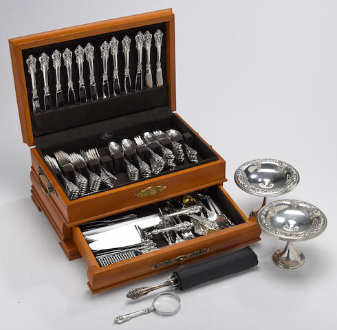 A sterling pair of compotes with matching flatware set in wooden case by Wallace Silversmiths, Wallingford, CT <BR />Grande Baroque  (128 with chest)