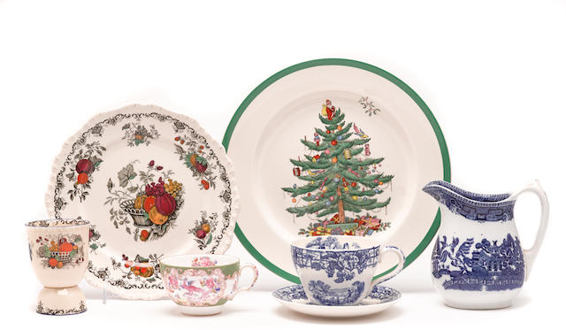 An assembled group of English porcelain and ceramic dinnerware