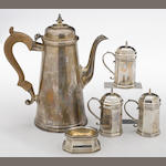 A sterling coffee pot with wooden handle by Ensko, New York, NY <BR /># 2525, Reproduction circa 1725  (5)