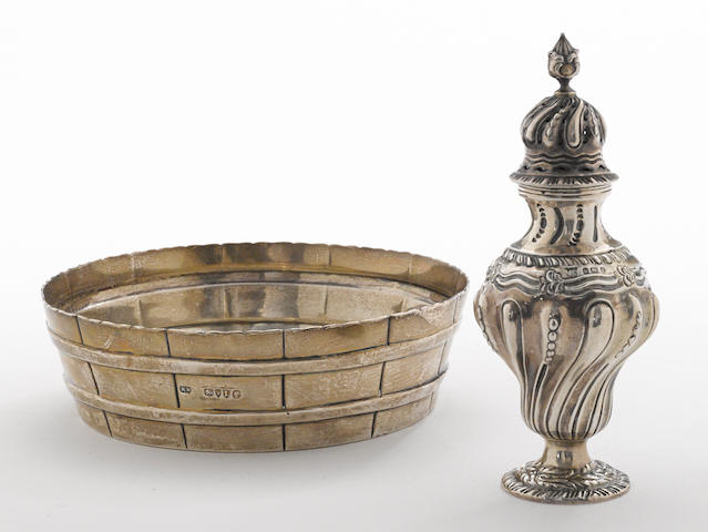 A Victorian silver novelty barrel form butter tub by Robert Stocker, London, 1886, retailed by Lambert, Coventry St  With crest  (2)