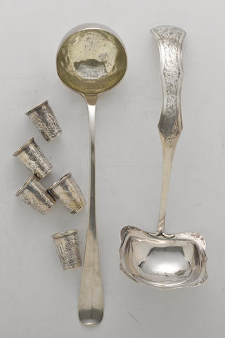 A Dutch 833 standard silver soup ladle with engraved decoration with maker's mark rubbed, dated 1844  (7)