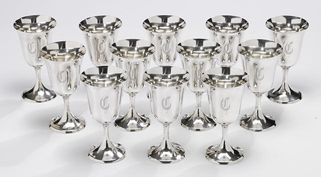 A sterling set of twelve water goblets by The Steiff Co., Baltimore, MD, dated 1941 <BR /># 0801, monogrammed: C