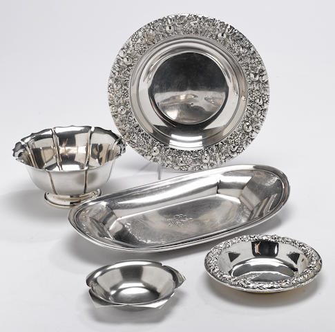 A group of five sterling table articles