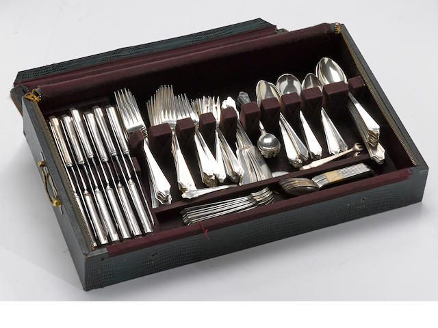 A sterling flatware set with case by International Silver Co., Meriden, CT <BR />Minuet, monogrammed: J  (163)