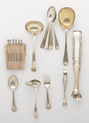 A sterling flatware group with some plated flatware  (19)