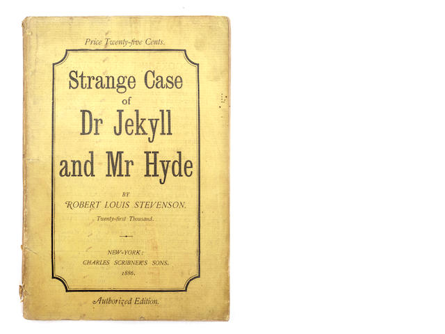 STEVENSON, ROBERT LOUIS.  Strange Case of Dr. Jekyll and Mr. Hyde. New York: Charles Scribner's Sons, 1886.