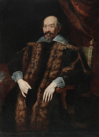 Italian School  SENDING TO BK STILL RESEARCHING A portrait of a nobleman, three-quarter-length, seated, wearing a fur-lined robe 53 1/4 x 39 1/4in