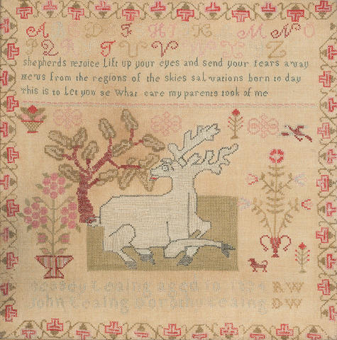 A marking and verse sampler<BR />wrought by Bessy Leaing<BR />Possibly American, dated 1834
