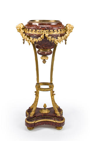 A Louis XVI style gilt bronze mounted Griotte rouge marble jardinière<BR />late 19th century