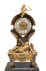 A Louis XIV style gilt bronze mounted brass and tortoiseshell inlaid Boulle pedestal clock<BR />G & N Passerat<BR />fourth quarter 19th century